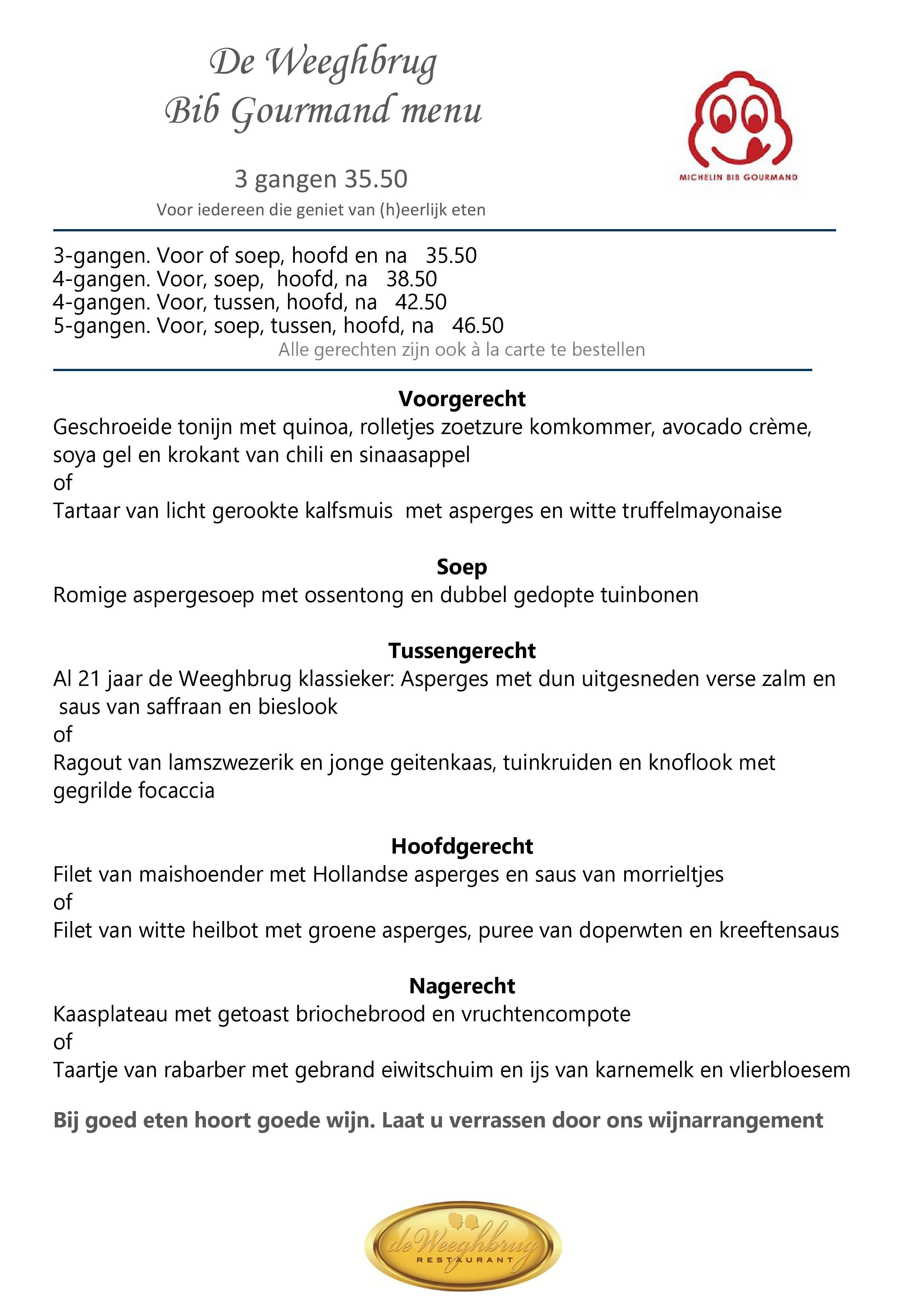 Weeghbrug Bib Gourmand menu